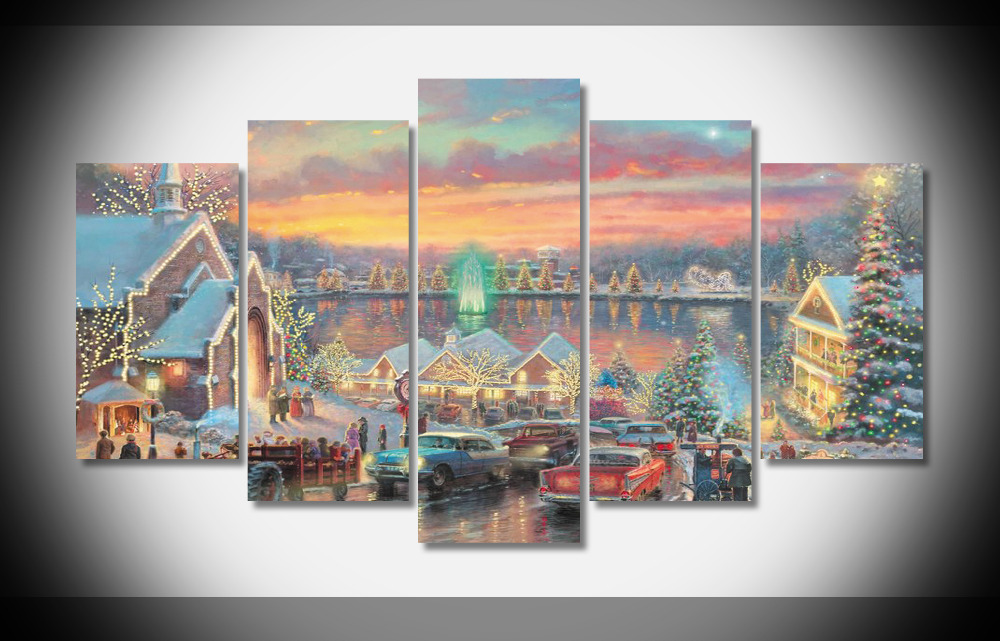 9937 Thomas Kinkade The Lights of Christmas town list Oil Painting ...