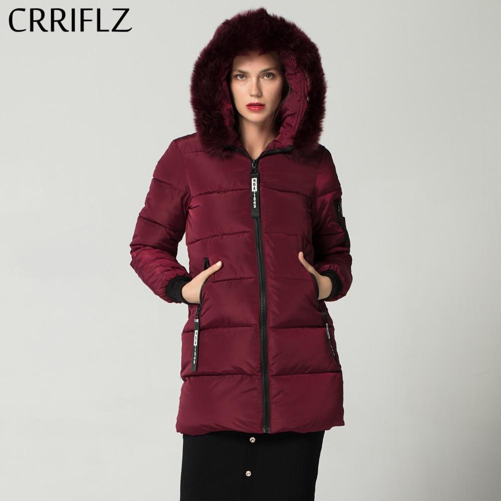 CRRIFLZ New 2018 Winter Collection Warm Hooded Coat Winter Jacket Women Causal Woman Winter Coat Fur Collar Long   Parka   Female