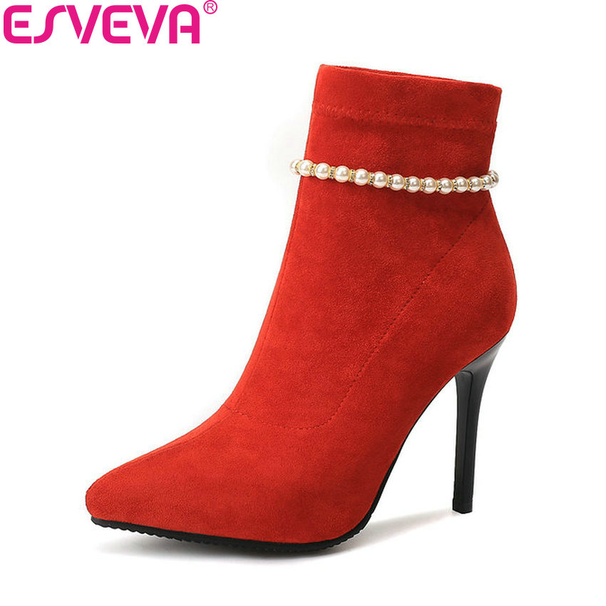 ESVEVA 2019 Women Shoes String Bead Thin High Heels Slip on Pointed Toe Boots Elegant Ankle Boots Flock Woman Shoes Size 34-43 esveva 2018 high heels women boots short plush boots square heels elegant chunky pointed toe ankle boots ladies shoes size 34 39