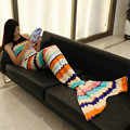 Sea Waves Striped Pattern Soft Warm Mermaid Tail Sofa Fleece Nightgown for Adult Mermaid Tail Sofa Lap Throw Bed Wrap Costume