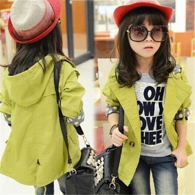Куртки для маленьких девочек пальто с капюшоном одежда куртка Обувь для девочек одежда с длинным рукавом весенне-осенняя одежда для детей От 6 до 15 лет Пуговицы верхняя одежда для малышей Подростковая