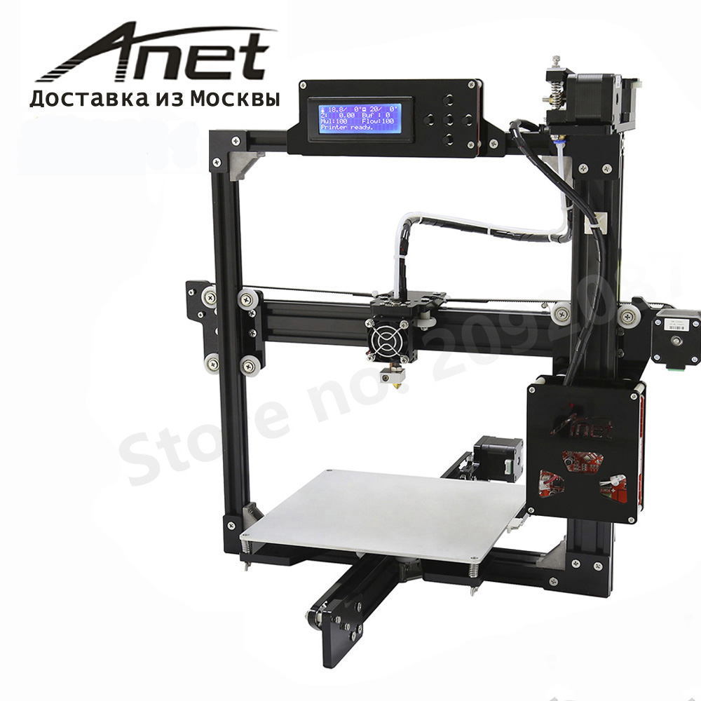 Black Anet A2 Reprap Prusa i3 3d printer/ aluminium metal frame LCD display/ PLA 8G SD card as gift/fast shipment from Moscow anet high precision auto leveling 3d printer big size lcd 2004 220 270 220mm metal 3d printer kit with 10m filament sd card