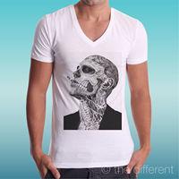 T SHIRT BLANC COU V JERSEY MAN TATOUAGE ZOMBIE HOMME AVEC TATOUAGES CADEAU discount hot new t shirt top free shipping t shirt