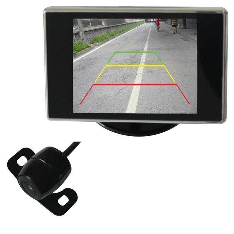 imágenes para Retrovisor del coche Cámara de aparcamiento sistema de sensor de aparcamiento de vídeo 3.5 pulgadas digital TFT LCD monitor, FreeShipping