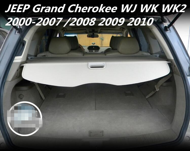 JIOYNG Car Rear Trunk Security Shield Shade Cargo Cover For JEEP Grand Cherokee WJ WK WK2 2000-2007/2008 2009 2010(Black beige) black for hyundai new santa fe 7 seat model 2007 2008 2009 2010 2011 2012 rear trunk security shield cargo cover