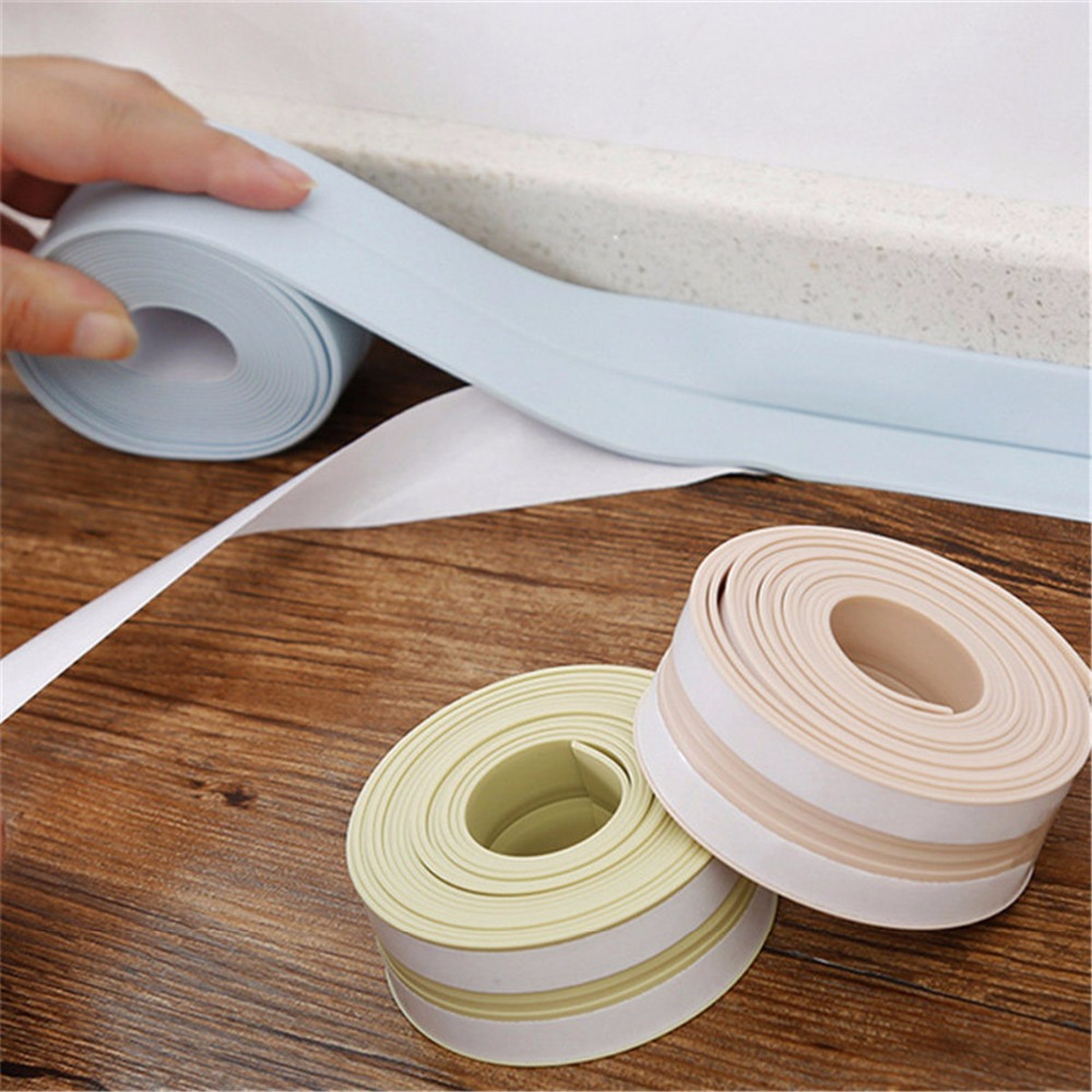 PVC Waterproof Mildew Proof Adhesive Tape, Kitchen Bathroom Wall Sealing Tape Sink Joint Crevice Sticker Corner Line Sticking