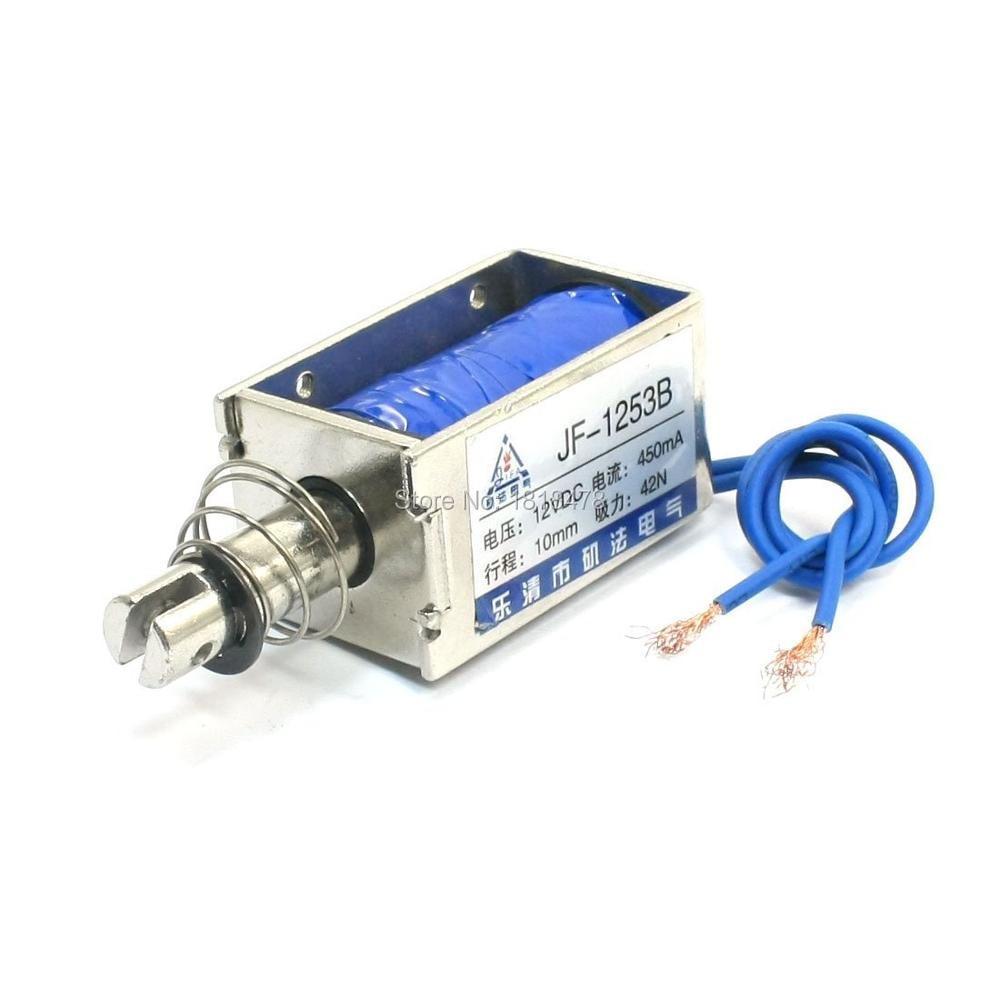 цена на JF-1253B DC 12V 42N 10mm Pull Open Frame Wired Electromagnetic Linear Solenoid