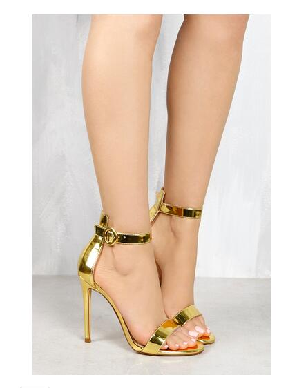 ФОТО LTTL 11 cm high thin heels open toe buckle strap lace-up women summer fashion sandals casual sheos Black,Gold and Nude