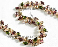 Free Shipping 2 1cm Multicolors Purple Brown Pink Resin Rhinestone Chain Gold Hair Dress Waist Collar