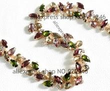 free shipping 1 yard 2.1cm multicolors purple brown pink resin rhinestone chain gold hair dresscollar garment sewing accessory