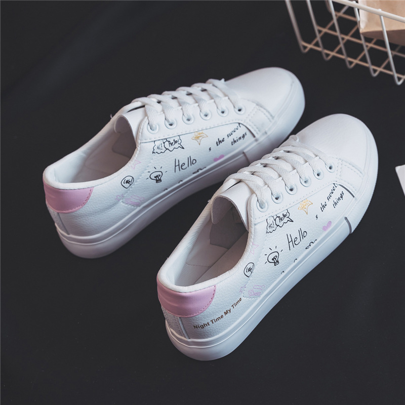 2018 Women Leather Shoes with Print Students White Shoes Lace Up Flat Heel Spring Sneakers Casual Shoes Chaussure Femme 35-40 tfsland men women genuine leather loafers students white shoes unisex spring round toe lace up breathable walking shoes sneakers