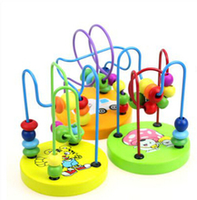 Baby wooden toys baby learning education toy Rosary beads around the game natural quality of wood