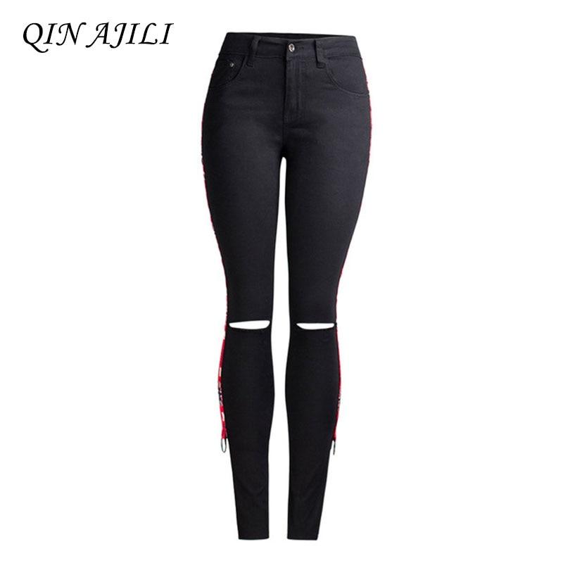 2019 QIN AJILI Skinny Pencil Pants Sexy Jeans Hole Mid Waist Ankle-Length Womens Black Jean Fashion Denim Cotton