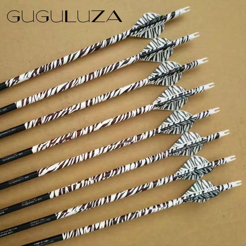 "GUGULUZA 32"" zebra stripe carbon arrows Spine 400 for Recurve/Compound Bows Archery Hunting 12 pcs/lot"