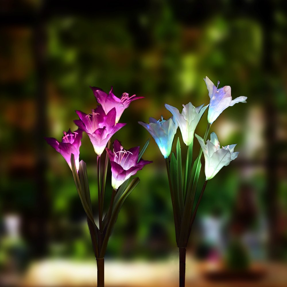 Solar LED Lily Flower Light Color Changing Energy Saving Lawn Lamps Outdoor Garden Path Yard Decoration 4LED Flower Party Lamp