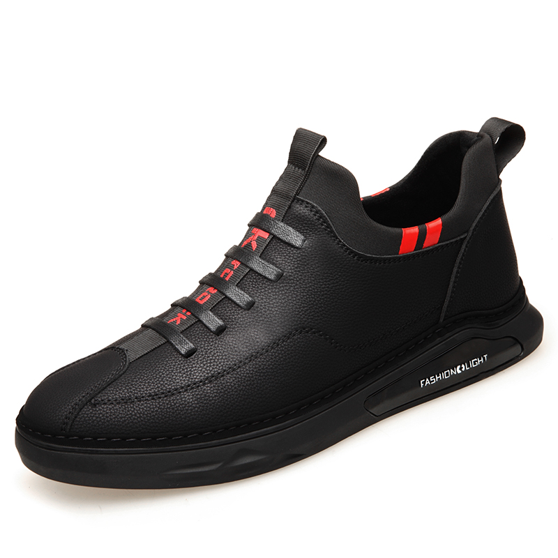 2018 Man Fashion Leather Shoes British Casual Shoes New Autumn Winter Fleeces Inner Youth Leisure Leather