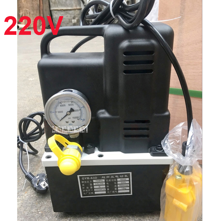 220V GYB-63D Portable Electric Hydraulic Pump Ultra High Pressure Small Hydraulic Oil Pump Station 600W 1600r/min 3L Hot Sale high pressure hydraulic pump 0 75kw electric hydraulic pump oil pressure pedal hydraulic pump hhb 700a