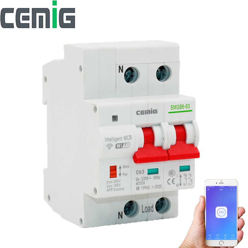 Smart WiFi Circuit Breaker MCB Automatic Switch With Google Nest  Amazon Echo and App Remotely Control Cemig SMGB6-63 2P 63ASmart WiFi Circuit Breaker MCB Automatic Switch With Google Nest  Amazon Echo and App Remotely Control Cemig SMGB6-63 2P 63A
