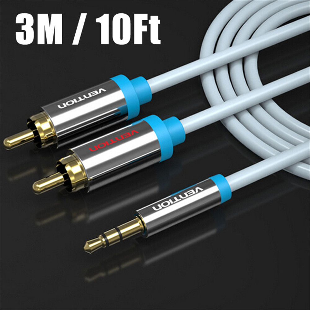 Vention New 3M/10Ft 3.5mm Gold Plated Jack Plug Male to 2 RCA Male Stereo Audio Cable for Smartphones /Laptops/Computers DVD/TV