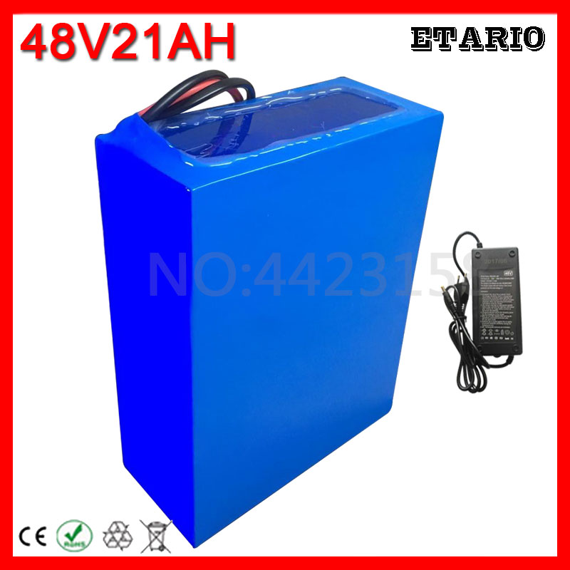 Perfect Big Capacity 48 Volt Batteries 48V 20Ah Li-ion Battery for Electric Bike with PVC case Built in 13S 30A BMS + 2A CC/CV Charger 0