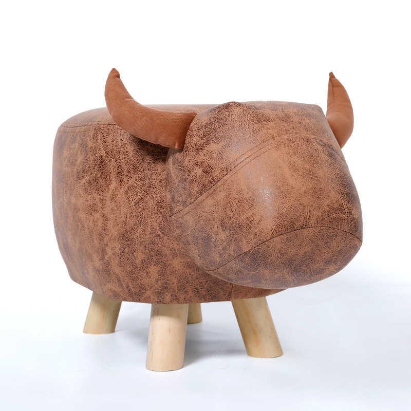 Скандинавские Животные Слон корова табурет деревянный современный деревянное кресло подножка Маленький стул, гостиная прикроватная скамья детская мебель