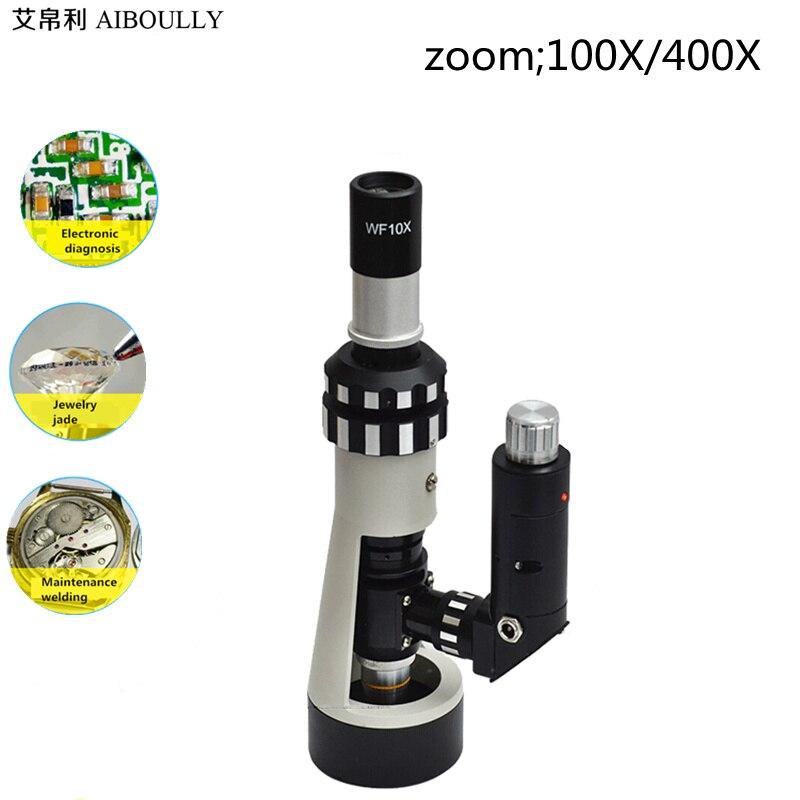 AIBOULLY BJ-A400 Portable Microscope Métallographique À main sur Place Microscope Zoom 100X-400X Fois Instruments Diagnostiques