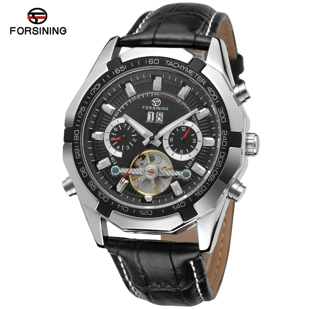 FORSINING Men Luxury Brand Genuine Leather Watch Tourbillion Calendar Automatic Mechanical Wristwatches Gift Box Relogio Releges orkina luxury brand wrist watch sport men genuine leather tourbillion mechanical watches cool dress watch gift for male box
