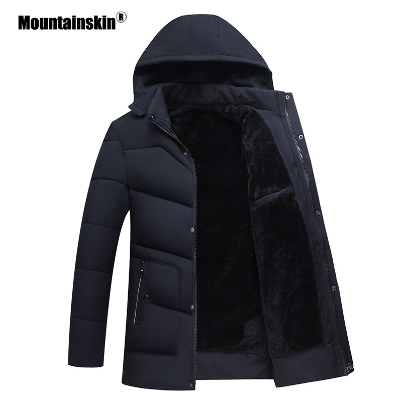 Mountainskin Winter Men's Warm   Parka   Cotton Thick Padded Coats Velvet Jackets Overcoat Male Outerwear Mens Brand Clothing SA596