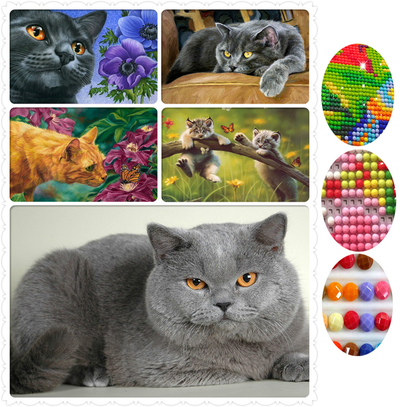 Full Drill 5D DIY Diamond Painting Cat Cross Stitch Embroidery Mosaic Needlework