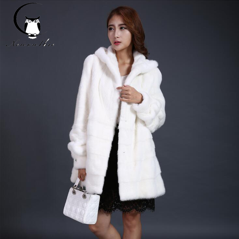 2016 new water mink hair long-hooded women's hooded long-sleeved fur coat cold warm