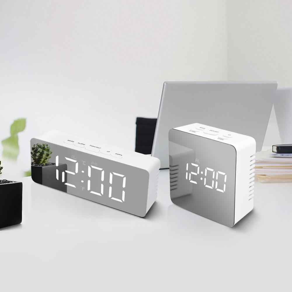 Mirror Decor Date Snooze Temperature USB Desk Clock LED Night Light Modern Home Office Decoration Night Lamp Table Clock Light