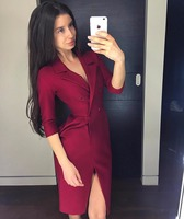 2019 Dress Sexy Celebrity Full Slit Button Double Breasted Women Turn Down Collar Night Club Party Body con Dresses Wholesale