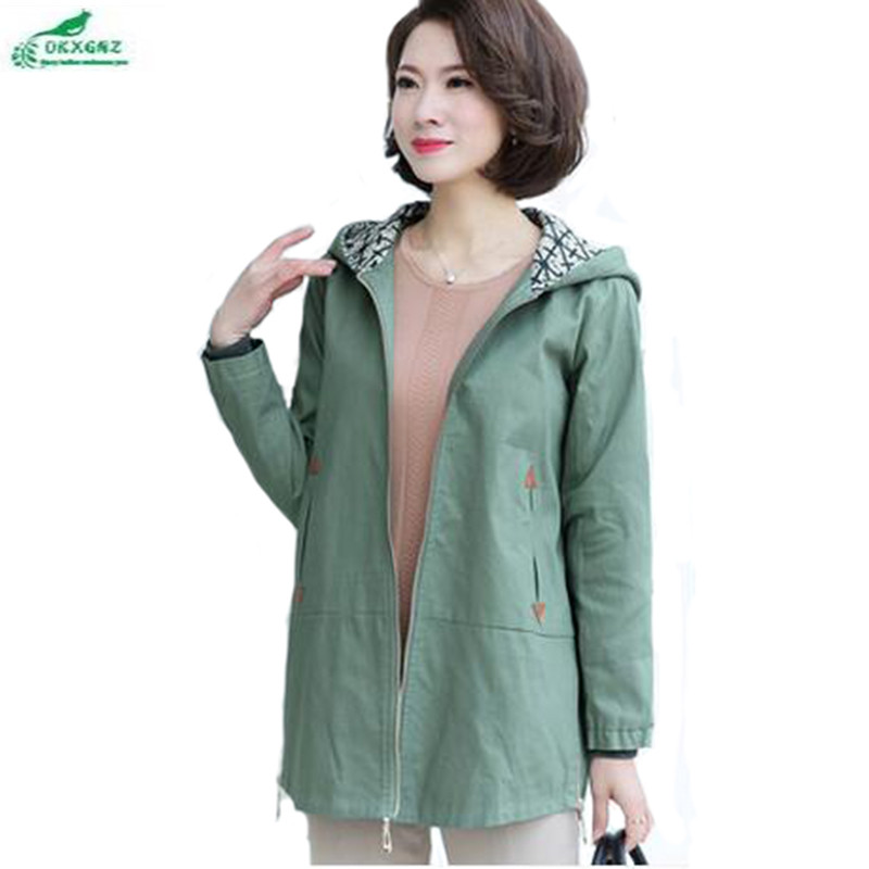 Middle-aged women coat 2018 large-size casual windbreaker coat female long section of the fall women Outerwear tide OKXGNZ QQ880