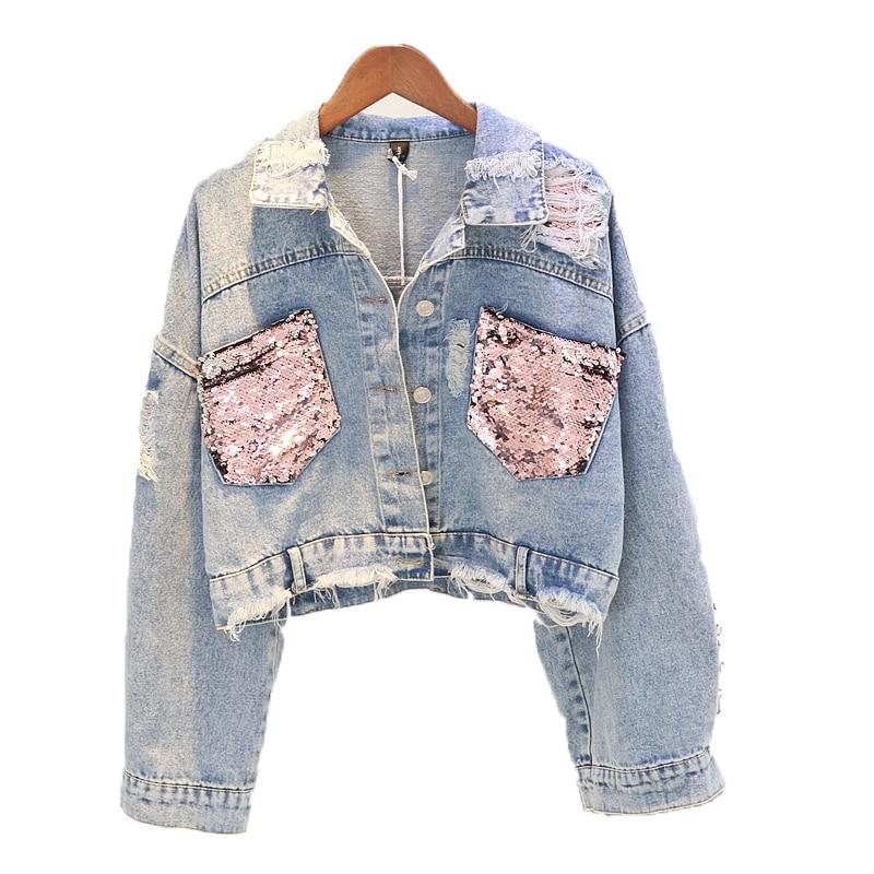 2019 Hole Jean Jacket Women Spring Short Sequin Denim Jacket Splice Autumn Female Jacket spring jackets for women Female navel