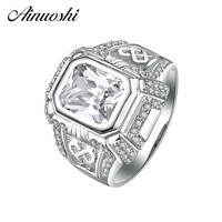 AINOUSHI 925 Sterling Silver Luxury Men Rings Wedding Engagement Anniversary Sona Silver Rings Classic Men Trendy Gifts