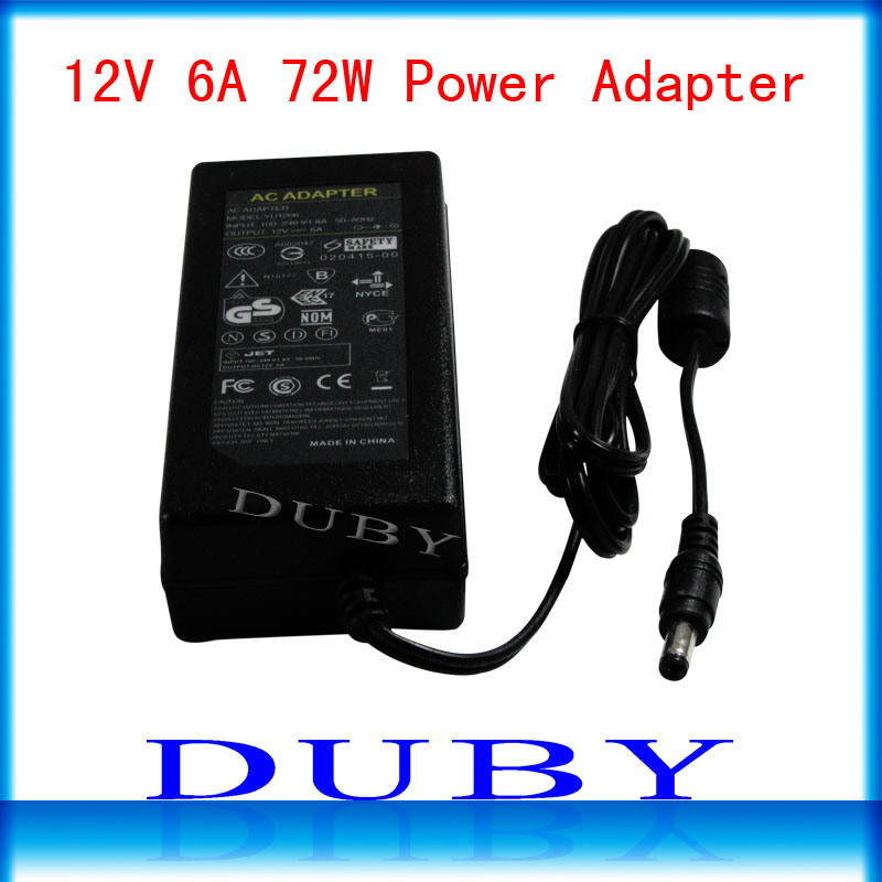 New Universial AC/For DC 12V 6A 72W Power Supply Charger Adaptor For LED Strip Light CCTV Camera Free Shipping