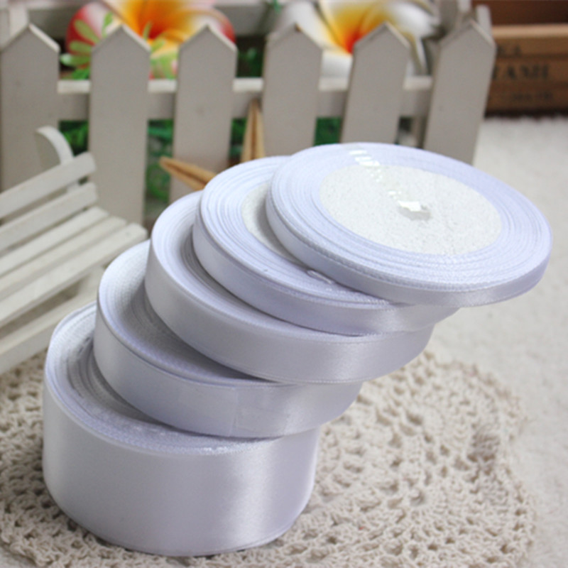 25Yards White Silk Satin Ribbon Wedding Party Decor Wrapping Xmas Apparel Sewing