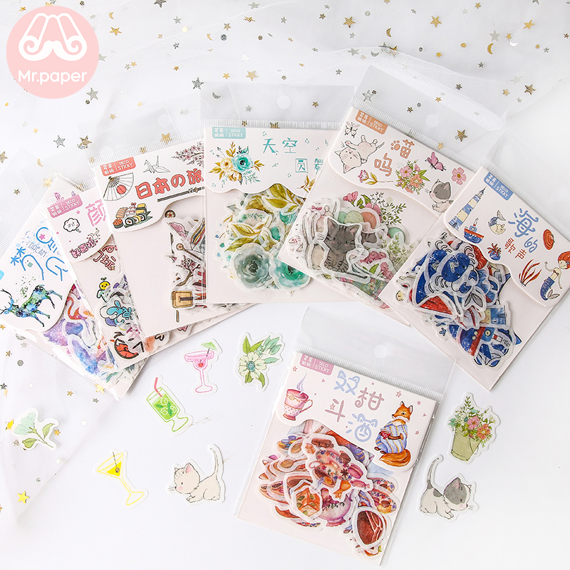Mr.paper 40Pcs/bag 24 Designs Cute Diary Sticker Scrapbooking Heart Beat Series Japanese Kawaii Creative Stationery Deco Sticker