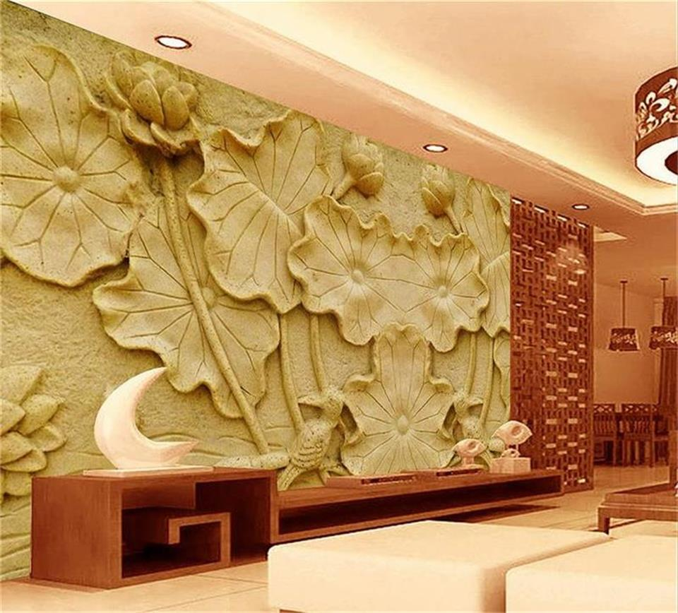 custom 3d photo wallpaper living room mural sandstone relief lotus ...