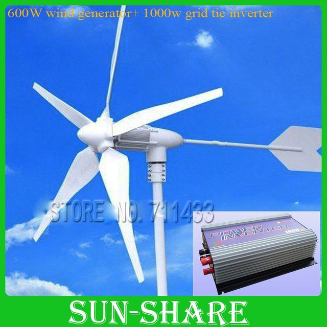 600W WIND GENERATOR +1KW(AC 22v-60v 3phase input -AC 90V-150V/230V) GRID TIE WIND INVERTER for home using ,TV,FANS,COMPUTERS