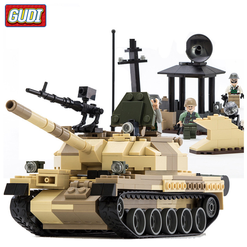 GUDI 372pcs/set Military Toy Tank Building Blocks Kids Educational DIY Block Sets Army Man Weapons Enlighten Toys for Children cheerlink zm 81 3mm neodymium iron diy educational toys set silver 81 pcs