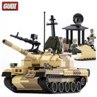 GUDI 372pcs/set Military Toy Tank Building Blocks Kids Educational DIY Block Sets Army Man Weapons Enlighten Toys for Children