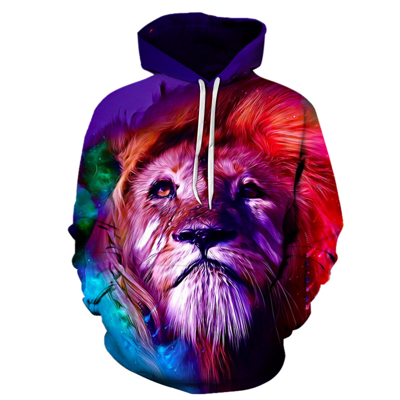 Colorful Lion 3D Sweatshirts Men/Women Hoodies With Hat Print Fashion Autumn Winter Loose Thin Hooded Hoody Tops