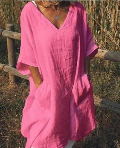 Plus Size Boho Dress Women Summer V-neck Loose Beach Holiday Sundress Casual Soft Shirt Dresses 3XL 2019 New