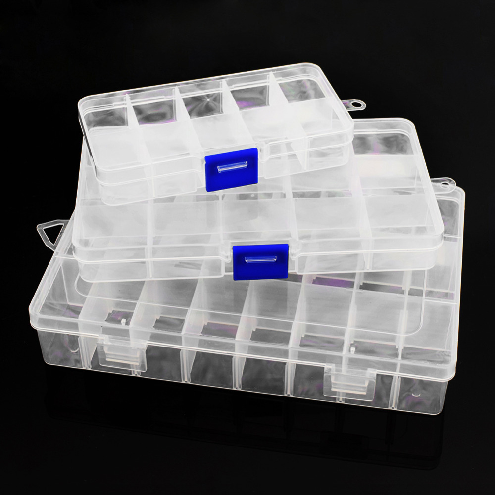 Adjustable 10/15/24 Compartment Plastic Storage Box Practical Jewelry Earring <font><b>Bead</b></font> Screw Holder Case Display <font><b>Organizer</b></font> Container image