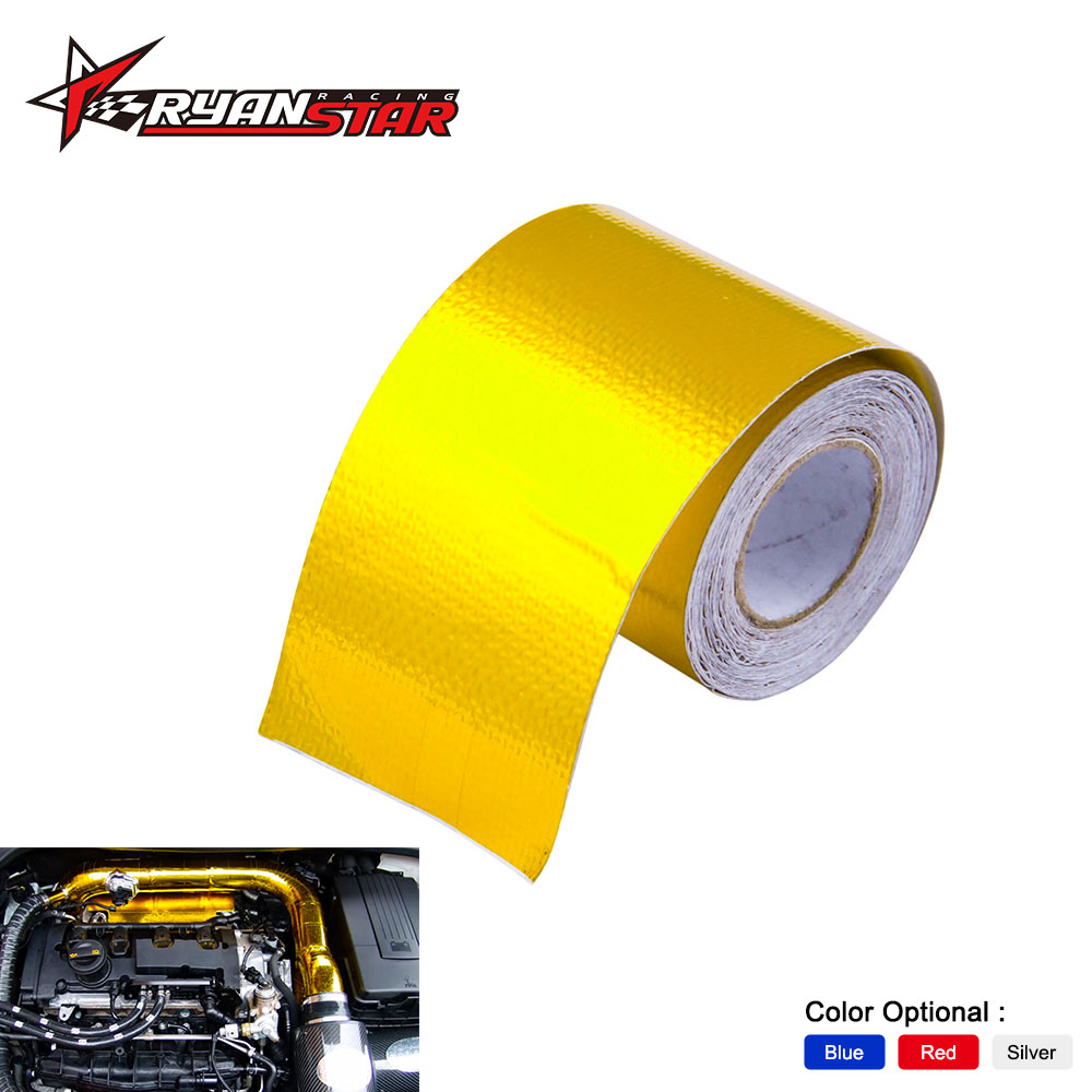 2 Inch * 5M Reflect Gold Foil Insulation Thermal Tape Intake Wrap Reflective Heat Engine Exhaust Pipe Heat Protection Resistant protective wrap protective tape protective foil - title=