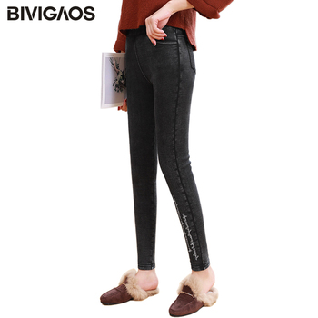 BIVIGAOS hiver chaud Jeans crayon pantalon épaississement Plus velours tige brodé lettres Leggings pantalon pour femmes Slim jegging
