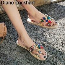 Transparent Strap Slippers Female Summer Slip On Sandals Square Toe Colorful Fla