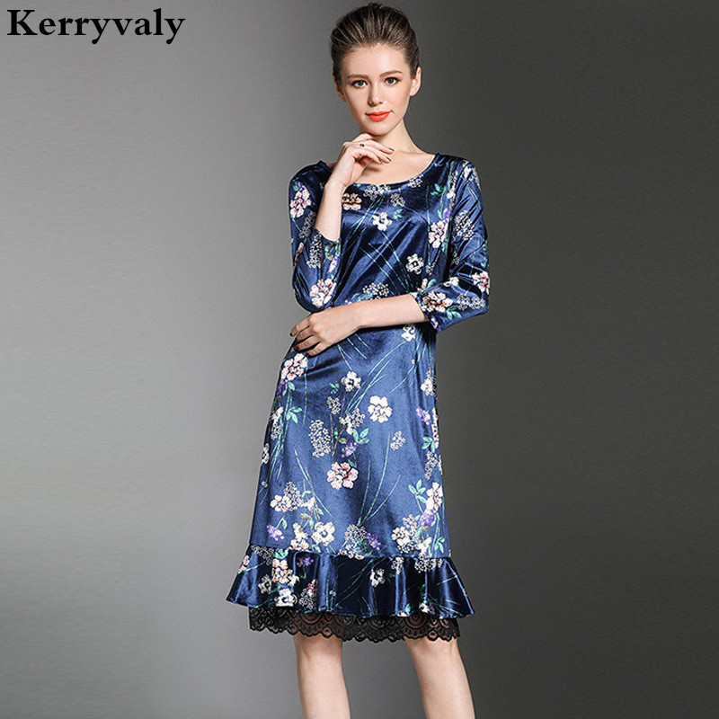 Autumn Blue Print Flarol Patchwork Lace Dress Robe Hiver 2018 Kim ...