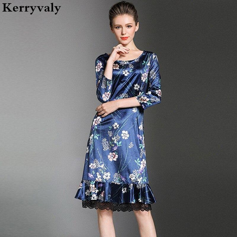 Autumn Blue Print Flarol Patchwork Lace Dress Robe Hiver 2017 Kim Kardashian Robe Vintage Christmas Velvet Dress K5230